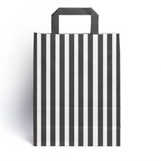 Black Candy Stripe Paper Carrier Bags [HappyPack.me Brand]