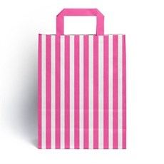 Shocking Pink Candy Stripe Paper Carrier Bags [HappyPack.me Brand]