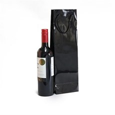 Black Gloss Wine Bottle Gift Bags
