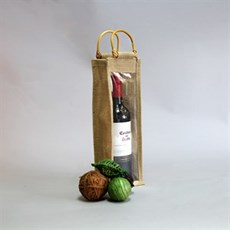 One Bottle Jute Bags with Window