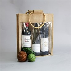 Three Bottle Jute Bags with Window