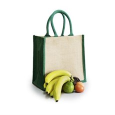 Natural Jute Green Trim Bags with Luxury Padded Handles