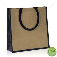 Natural Jute Navy Trim Bags with Luxury Padded Handles