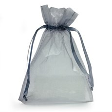 Silver Organza Bags with Drawstring