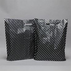 Black and Silver Stripe Plastic Carrier Bags