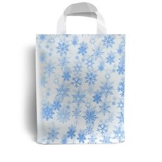 Blue Snowflake Design Plastic Carrier Bags with Loop Handles