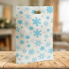 Blue Snowflake Design Plastic Carrier Bags