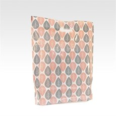 Peach & Grey Leaf Design Plastic Carrier Bags