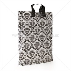 Loop Handle Black Damask Print Plastic Carrier Bags