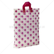 Loop Handle Shocking Pink Polka Dot Plastic Carrier Bags