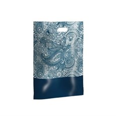 Blue Paisley Design Plastic Carrier Bags