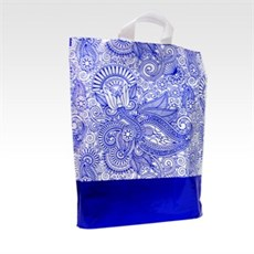 Loop Handle Blue Paisley Design Plastic Carrier Bags