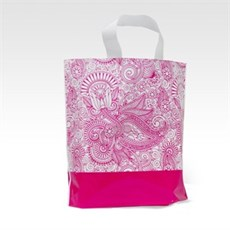 Loop Handle Pink Paisley Design Plastic Carrier Bags