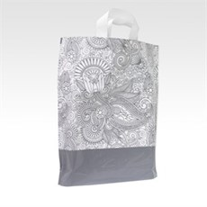 Loop Handle Silver Paisley Design Plastic Carrier Bags