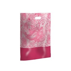 Pink Paisley Design Plastic Carrier Bags