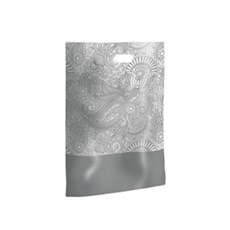 Silver Paisley Design Plastic Carrier Bags