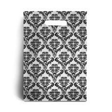 Standard Black Damask Print Plastic Carrier Bags