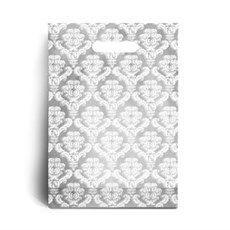 Standard White Damask Plastic Carrier Bags