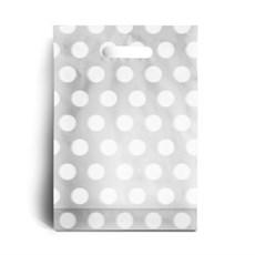Standard White Polka Dot Plastic Carrier Bags