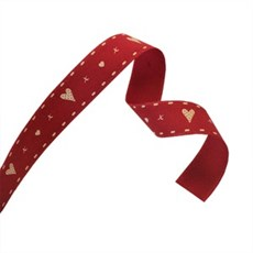 Hearts and Kisses Red Woven Ribbons
