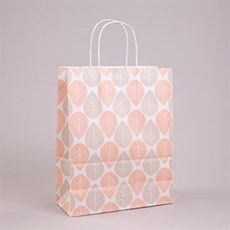Peach & Grey Leaf Paper Carrier Bags with Twisted Handles