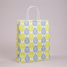 Green & Blue Leaf Paper Carrier Bags with Twisted Handles