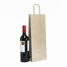 Italian Brown Paper One Bottle Bag with Twisted Handles