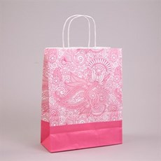 Pink Paisley Paper Carrier Bags with Twisted Handles