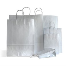 Silver Paper Carrier Bags with Twisted Handles