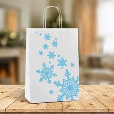 Blue Snowflake Design Paper Carrier Bags