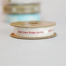 'Love From Santa' Soft Ivory [2] Christmas Ribbon
