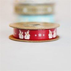 Snowman Christmas Ribbon in Scarlet Red [1]