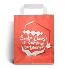 Santa Claus Is Coming Christmas Carrier Bags with Flat Handles