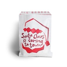Santa Claus Is Coming Design White Kraft Paper Bag