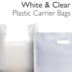 White & Clear Plastic Carrier Bags