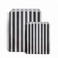 "Black Candy Stripe Paper Bags - 5"" x 7"""