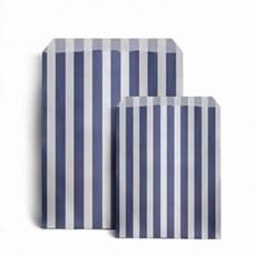 """Dark Blue Candy Stripe Paper Bags - 5"""" x 7"""""""