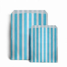 "Light Blue Candy Stripe Paper Bags - 5"" x 7"""