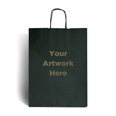 Dark Green Printed Paper Bags with Twisted Handles