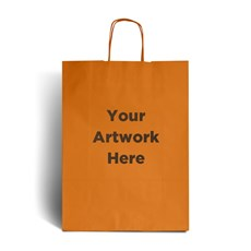 Orange Printed Paper Bags with Twisted Handles