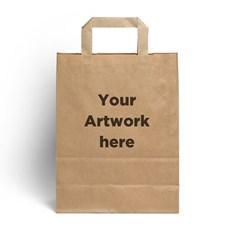 Brown Printed Flat Handles Carrier Bags