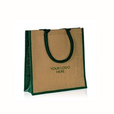 Printed Natural Jute Bags with Green Trim