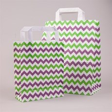 Green & Purple Chevron Flat Handle Paper Carrier Bags