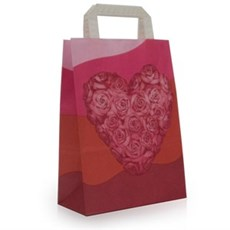 Heart Design Carrier Bags with Flat Handles