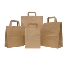 Premium Flat Handle Brown Paper Carrier Bags
