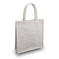 Vintage White Jute Bags with Short Cotton Rope Handles