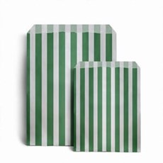 Green Candy Stripe Paper Bags