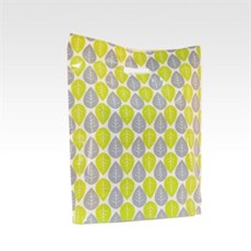 Green & Blue Leaf Design Plastic Carrier Bags