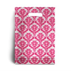 Standard Shocking Pink Damask Print Plastic Carrier Bags