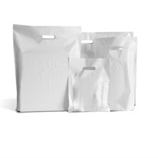 White Patch Handle Plastic Carrier Bags - Value Range